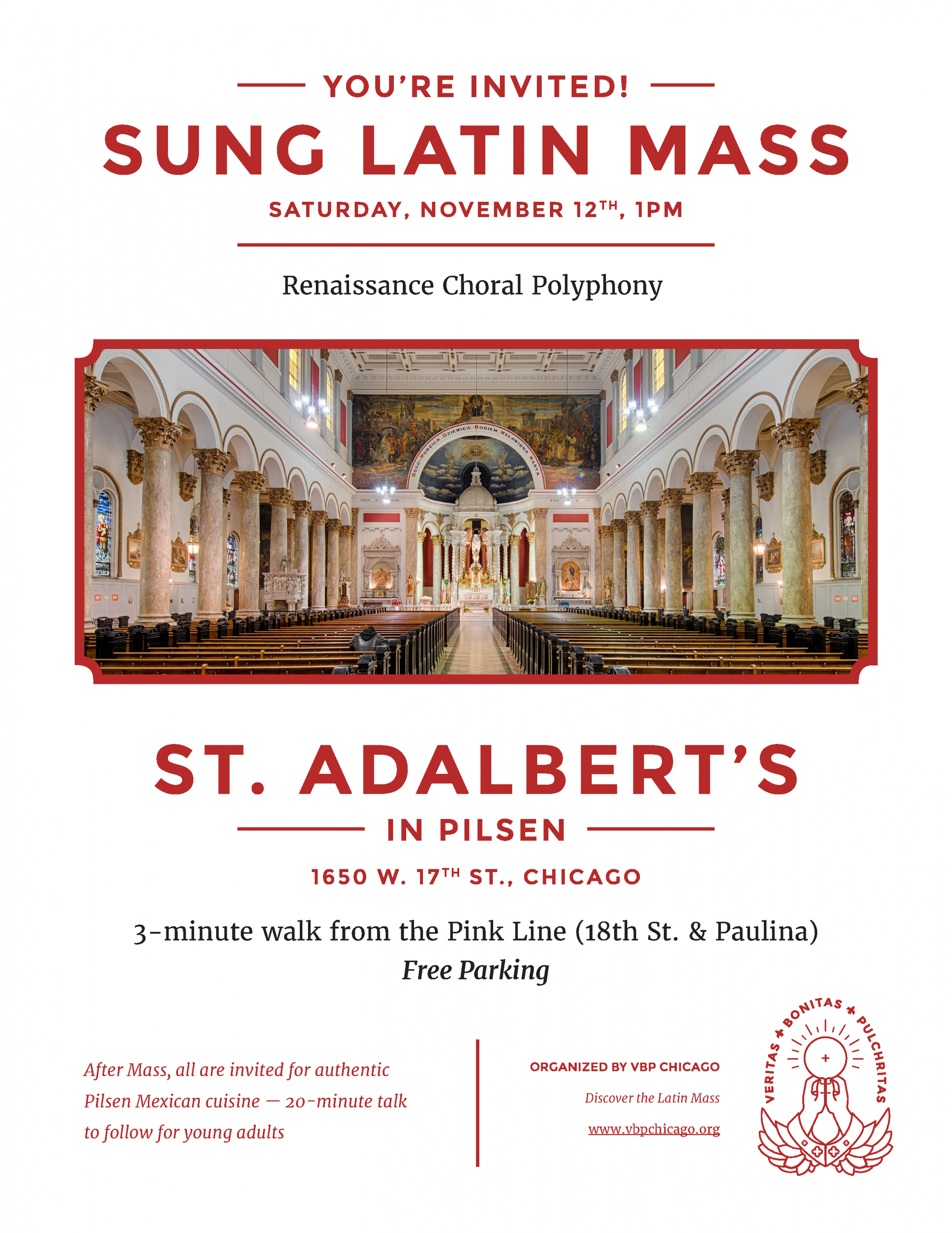 Special Event at St. Adalbert- Sung Latin Mass- Saturday November 12